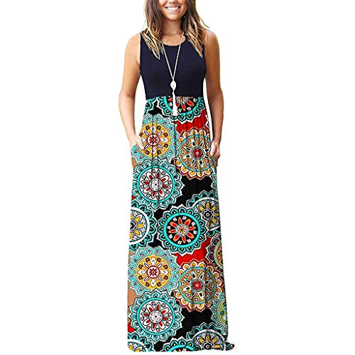 BODOAO Women Sleeveless Floral Print Pockets Loose Maxi Dresses Casual Swing Dress