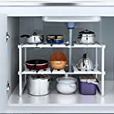Alightup 2 Tiers Expandable Under Sink Organizer Multi-Functional Rack Adjustable Storage Shelf Kitchen Organizer Stainless Steel and Plastic White