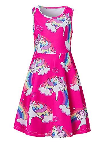 BFUSTYLE Girls Dresses Summer Tank Playwear Skater Dress Twirl Frocks Sleeveless Casual Sundress for Kid Girl 4-13 Years