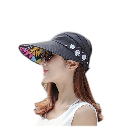 3fc0d1c4440 Cdet Women Sun Hat Foldable Wide Brim Summer Beach Hat Sun Visor Lady Cap  Black  Amazon.co.uk  Kitchen   Home