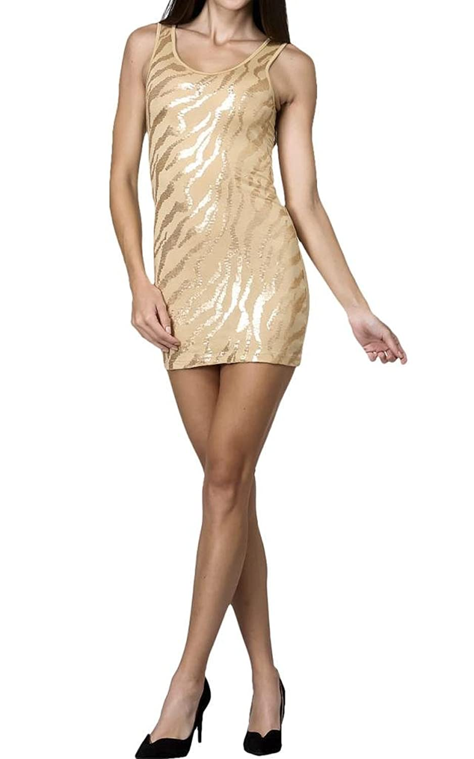 Sequins Front Glitter Sleeveless Mini Fitted Dress