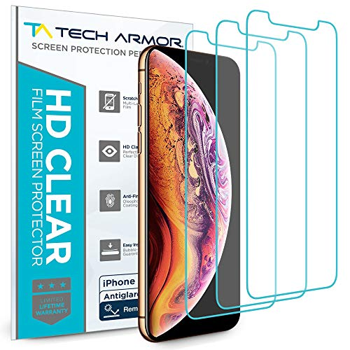 (Tech Armor Apple iPhone Xs Max Matte Anti-Glare/Anti-Fingerprint Film Screen Protector [3-Pack] Case-Friendly, Scratch Resistant, 3D Touch Accurate Designed 2018 Apple iPhone Xs MAX)
