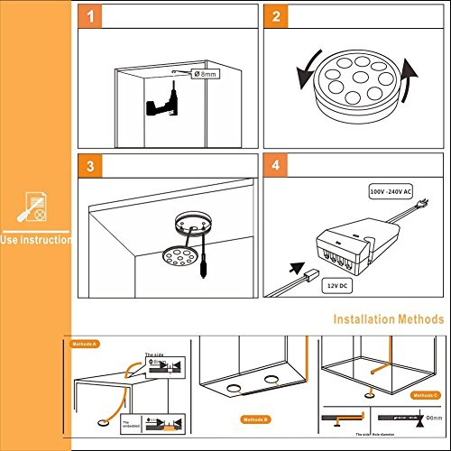 acebox 4 PCS Ultra-Thin LED Under Cabinet Light Kit for Confined Spaces, such as Cabinets, Bookshelves and Closets, Warm White, 45o LENS spot light, 8.2ft Power Cord, Silver Color, with UL-listed Power Adapter, Surface Mounting and Easy to Install by AceBox (Image #3)