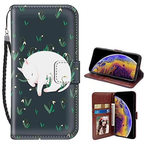 Bull Terrier Wallet Case Fit for Apple iPhone X, iPhone Xs, iPhone 10 [5.8-Inch] Folio
