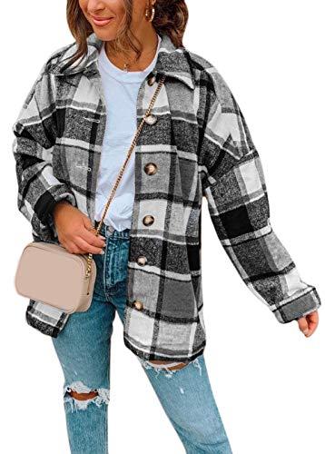 N+A Oversized geruite jas dames hemdjas geruit hemd hemdblouse overgangsjas houten hakkershemd dames blouseshirt casual…