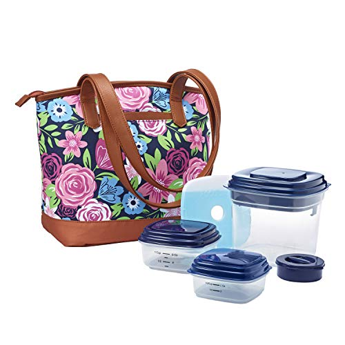 Fit & Fresh Inglewood Lunch Bag Kit with Reusable Container Set and Ice Pack, Navy Multi Bouquet