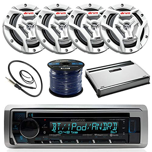 "Kenwood KMR-D365BT Marine Boat Radio Stereo CD Player Receiver Bundle Combo With 4x JVC CS-DR6201MW 6.5"" 2-Way Coaxial Speakers + 360-Watt Amplifier + Enrock Radio Antenna + 50 Foot 16g Speaker Wire"