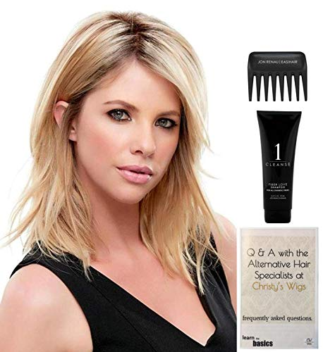 Bundle - 4 Items: Top Notch Hairpiece by Jon Renau, Christy's Wigs Q & A Booklet, 2oz Travel Size Synthetic Shampoo & Wide Tooth Comb - Color: 4