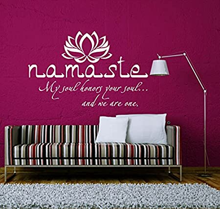 Wall Decals Quotes Buddha Quote Sign Words Namaste Yoga Lotus Flower Vinyl Sticker