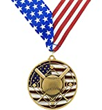 Gold Patriotic Baseball Medals - Come with Exclusive Decade Awards Stars and Stripes American Flag V Neck Ribbon - 2.75 inch wide - Made of Strong Metal - Perfect for School Competition
