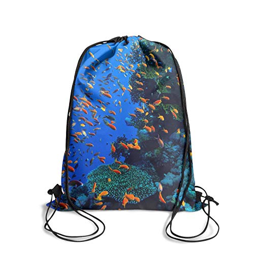 (LYIN Drawstring Backpacks Hawaii Coral Reef At Sunset Printted Cool Gymsack For Gym Swimming School)