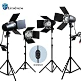 LimoStudio 4 Sets Continuous Barndoor Lighting Stand Kit with Dimmer Switch Photography Photo Studio, AGG2484