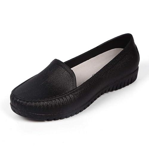 Owen Moll Women Flats Black Beige Ballet Loafers Slip-On Round Toe Single Work Shoes
