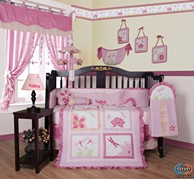 Boutique Geenny Designer Girl Dragonfly 13pcs Crib Bedding Set by GEENNY