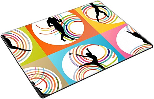 MSD Place Mat Non-Slip Natural Rubber Desk Pads design 36769285 Rhythmic art gymnastics woman with clubs vector background set by MSD