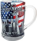 New York USA Glass Beer Mug- Featuring the New York Skyline and American Flag