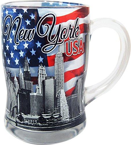 New York USA Glass Beer Mug- Featuring the New York Skyline and American Flag -