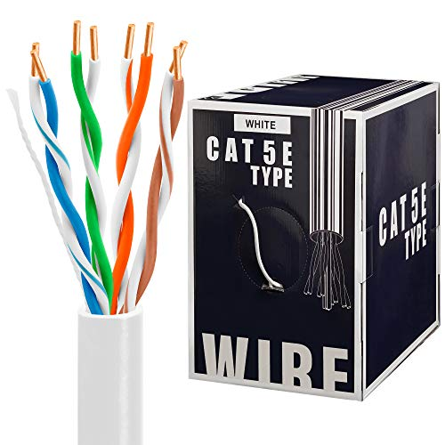 - Cmple Cat5e Gigabit Ethernet Cable Network Bulk Unshielded Twisted Pair (UTP), Solid 24AWG CMR 350 MHz, 1000 Feet White