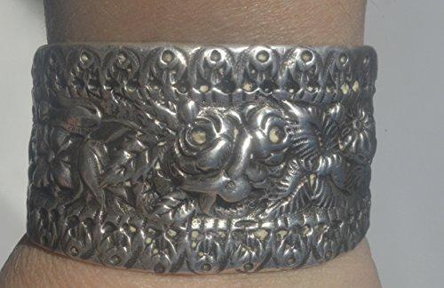 - Antique Floral Cuff Bracelet Art Nouveau 925 Solid Sterling Silver .925 Petite Bouquet Floral Bridal Bride Wedding