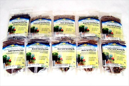 Sprouting Seed Super Sampler- Organic- 2.5 Lbs of 10 Different Delicious Sprout Seeds: Alfalfa, Mung Bean, Broccoli, Green Lentil, Clover, Buckwheat, Radish, Bean Salad & More
