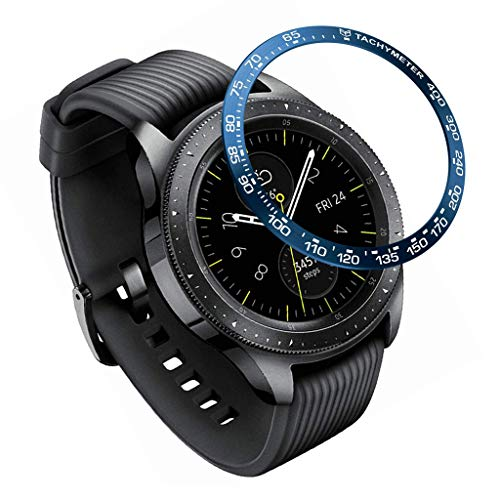 CreazyBee for Samsung Galaxy Watch 42MM Ring Adhesive Cover Anti Scratch High Quality Stainless Steel (Blue)