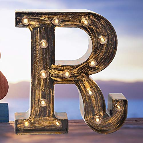 Elnsivo Vintage LED Marquee Letter Lights Light Up Industrial 26 Alphabet Name Signs Bar Cafe Initials Decor for Birthday Party Christmas Wedding Events (For Vintage Decor Wall Letters)