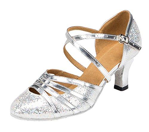 Tda Womens Fashion Cross Strap Punta Chiusa Glitter Sintetico Salsa Tango Sala Da Ballo Scarpe Da Ballo Latino Argento