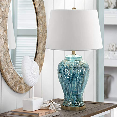 - Asian Table Lamp Ceramic Teal Glaze Patterned Temple Jar White Empire Shade for Living Room Family Bedroom - Possini Euro Design