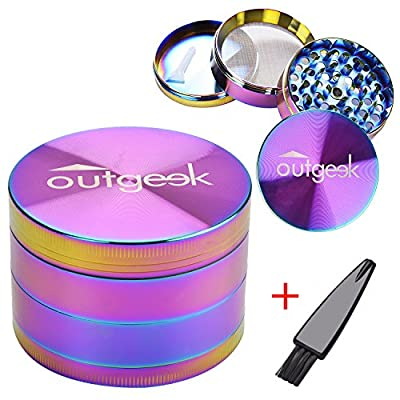 Herb Grinder, Outgeek 4 Pieces Metal Zinc Alloy for Weed Spice with Pollen Scraper Brush by Outgeek