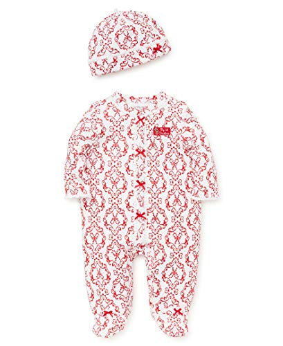 Damask Baby Girl Clothes (Little Me Baby Girls Footie and Hat, Damask Christmas red/White, 6)
