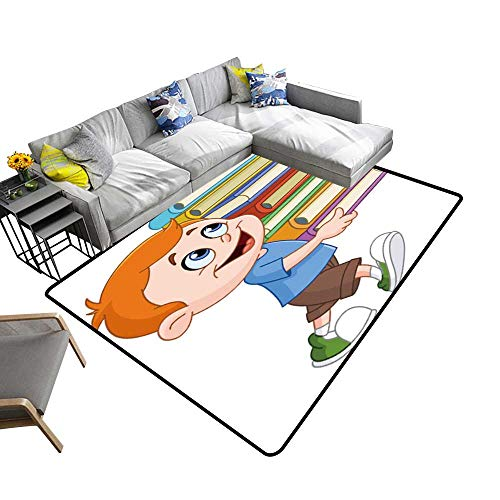 Super Cozy Bathroom Rug Carpet Young boy Walk Carry a t Heavy Stack School Books Provides Protection and Cushion for Floors 22 x 60 inch