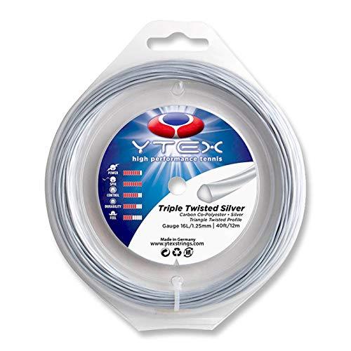 (YTEX Triple Twisted Silver Tennis Racquet String Set (16L Gauge, 1.25mm))