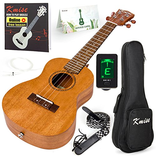 Kmise Tenor Ukulele Vintage Hawaiian Ukelele Mahogany Uke for Beginner With Starter Pack ( Gig Bag Tuner Strap String Instruction Booklet ) 26 inch Ukele (KMU26T)