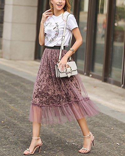 Falda Larga de Faldas De Cintura Alta Dobladillo Grande Maxi de la Mujer Falda de Tul Largo Púrpura