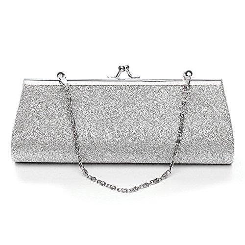 Woopower - Bolso de mano con purpurina brillante, bolso bandolera con cadena para fiesta de noche, boda, banquete de novia, plata, talla única plata
