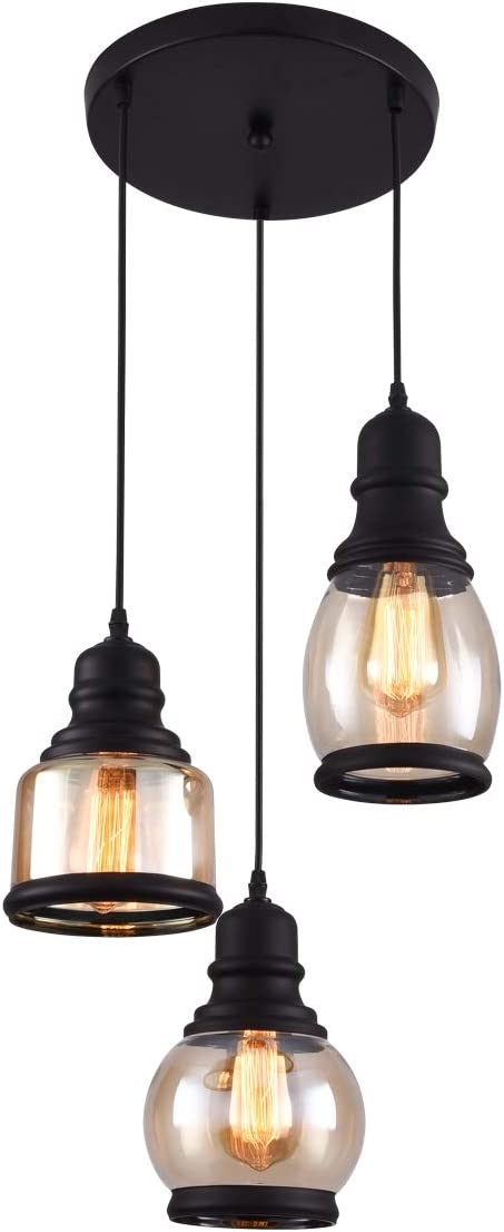 mirrea Rustic Glass Jar Pendant Lights 3 Lights with Yellowish Painted Glass Shade Cord Adjustable