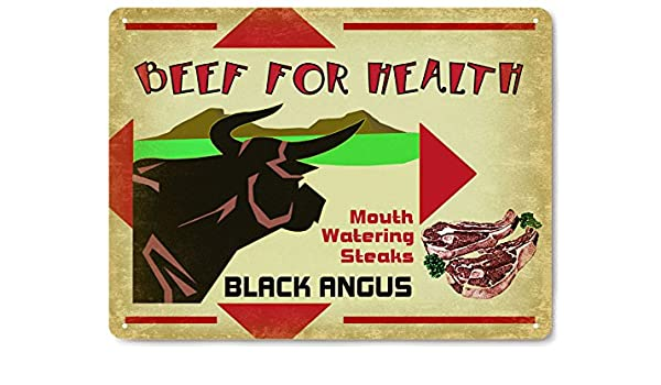 f0f2d900 Amazon.com: Cow black angus metal Sign farm cattle ranch meat steak ...