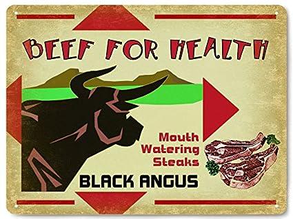 Amazon.com: Cow black angus metal Sign farm cattle ranch meat steak ...