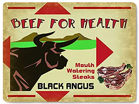 Amazon.com: Vaca Negro Angus Metal Sign Granja Cattle Ranch ...