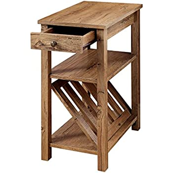 Marvelous Furniture Of America Erhart II 1 Drawer Side Table With Magazine Rack,  Rustic Oak