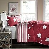 Lush Decor Star 3-Piece Quilt Set, King, Red