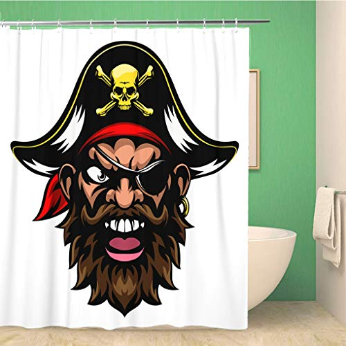 Awowee Bathroom Shower Curtain Face Cartoon Mean Tough Looking Pirate Sports Mascot Character 72x78 inches Waterproof Bath Curtain Set with Hooks -