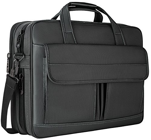 5.6 Inch,Water Resistant Briefcase, 15inch Expandable Messenger Shoulder Bag with Strap, Carry On Handle Case for Computer/Notebook/Macbook for Business Men/Women, Black (Carrying Case Briefcase)