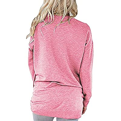 FANSIC Women Solid Color Crew Neck Casual Long Sleeve Pullover Tunic Top with Pockets at  Women's Clothing store
