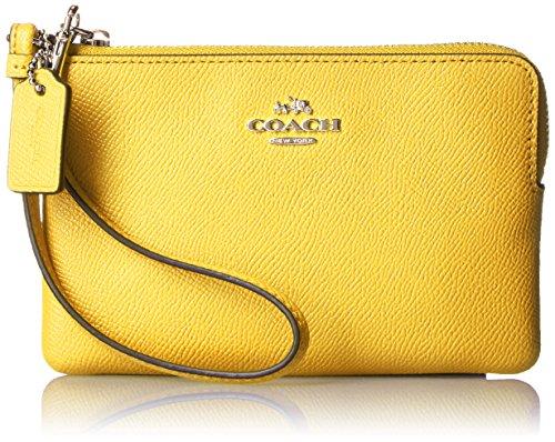 COACH Womens Crossgrain Leather Wristlet