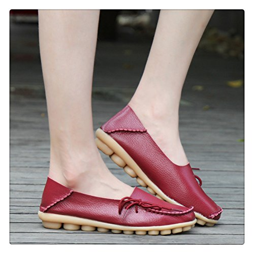 Always Pretty Womens Casual Leather Mother Loafers Boat Shoes Driving Footwear For Woman Burgundy wCGrzEGfqe