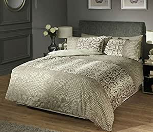 KERICHO ANIMAL PRINT SNAKE SKIN KING BED DUVET QUILT COVER BEDDING SET - NATURAL by DE CAMA