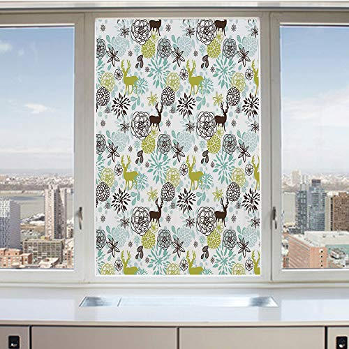 3D Decorative Privacy Window Films,Christmas Winter Themed Illustration with Deer Birds Snowflakes Floral Decorative,No-Glue Self Static Cling Glass film for Home Bedroom Bathroom Kitchen Office 17.5x