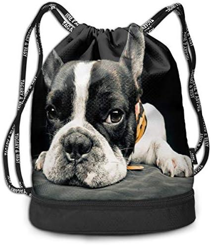 ナップサック ジムサック バックパック 巾着袋 伏せてる犬 リュックサック カジュアル 旅行 アウトドア 引きひも袋 通勤 水泳 スポーツバック キャンプ 男女兼用 濡れ物用 防水 部活用 プレゼント 靴入れ 軽量 乾湿分離