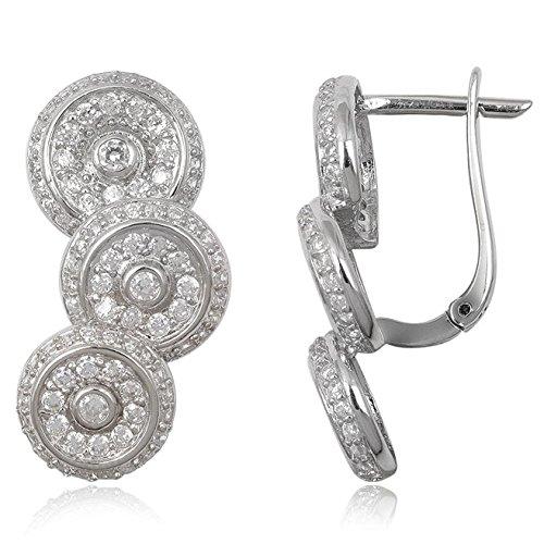 EYS JEWELRY® boucles d'oreilles pour dames cercle rond 39 x 14 mm Oxyde de Zirconium argent sterling 925 rhodium blanc avec étui de cadeau clou d'oreilles femme